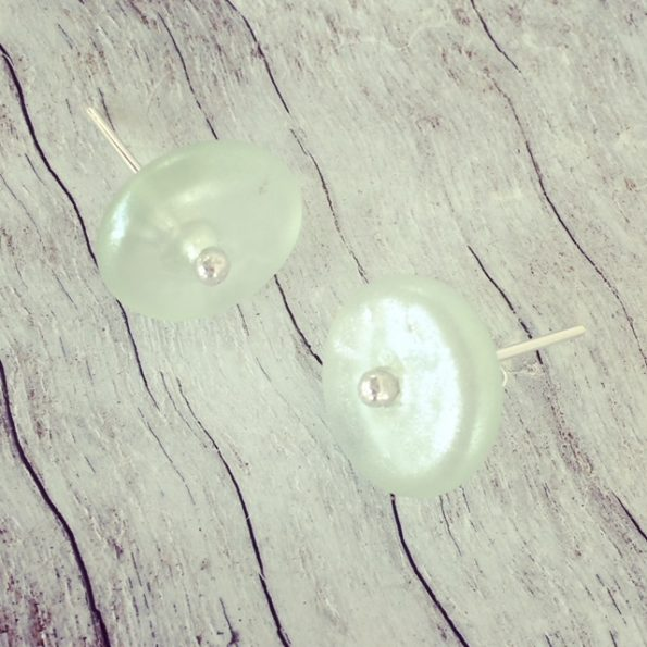 Recycled glass stud earrings | made from Green Depression Glass