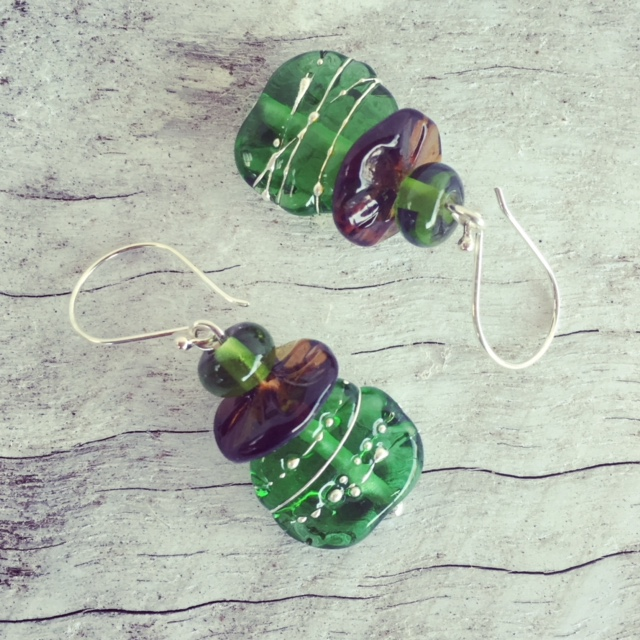 Recycled glass earrings | beads made from beer and champagne bottles