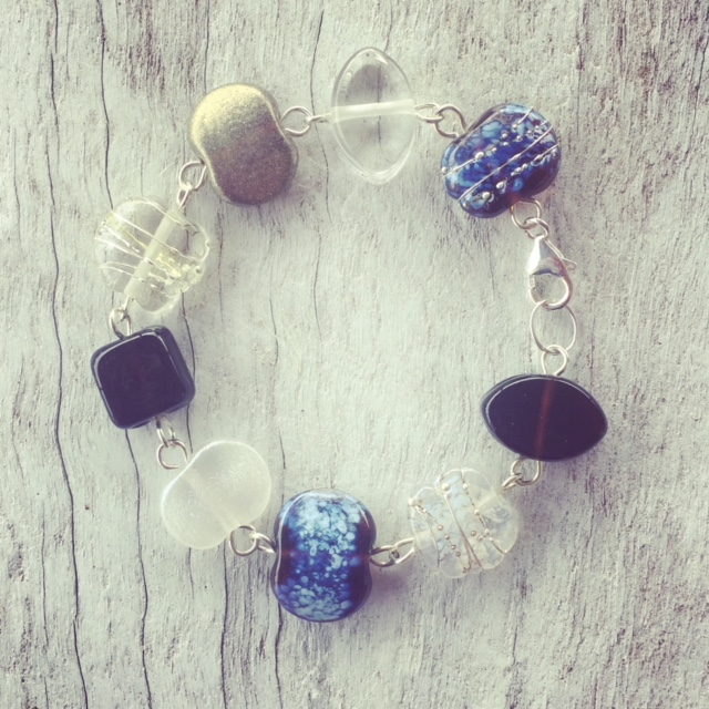 Recycled glass bracelet | beads made from gin and tonic bottles