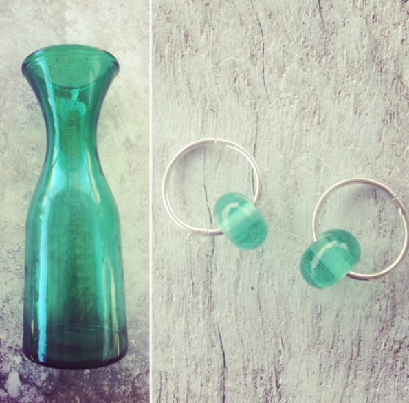 Recycled glass earrings | green beads made from a green carafe