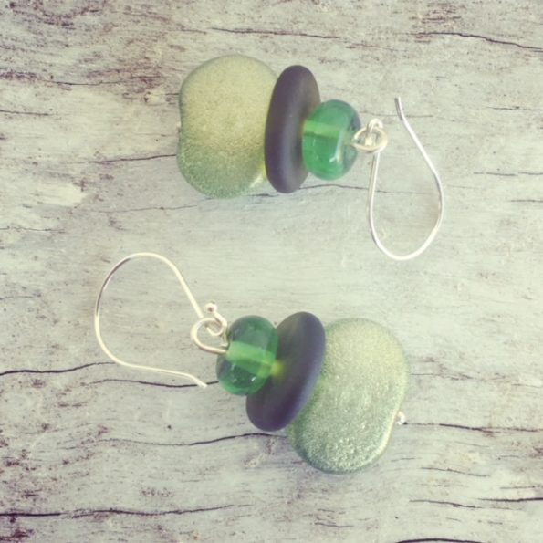 Recycled glass earrings | beads made from gin and wine bottles