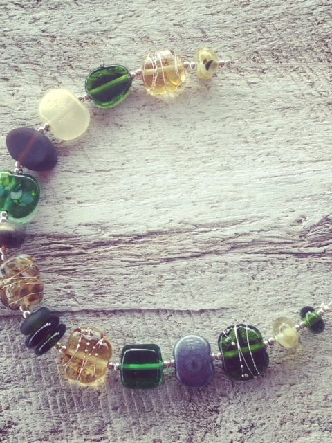 Recycled glass necklace | glass beads made from gin, wine, beer and champagne bottles.