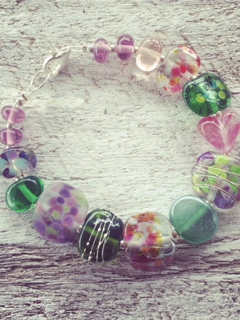 Recycled glass bracelet | beads made from assorted glass objects