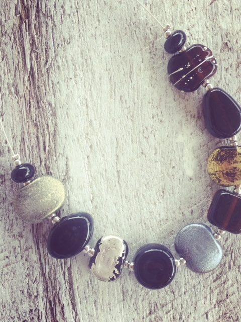 Recycled glass jewellery | silver and gold beads made from gin and beer bottles