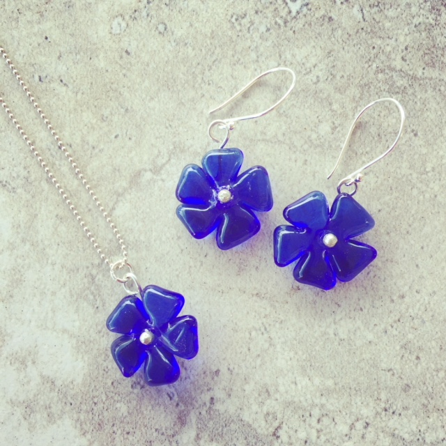 Recycled glass jewellery | blue flower beads made from Skyy Vodka Bottles