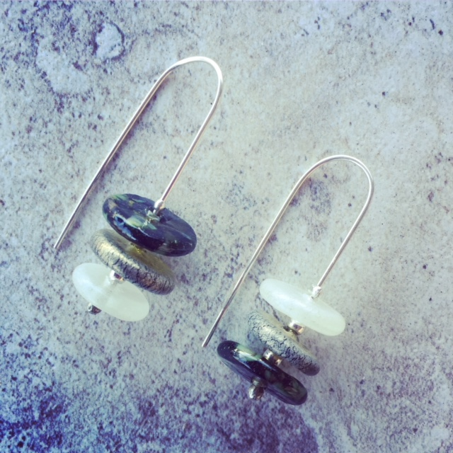 Recycled glass earrings | glass beads made from a Bethany Wines wine bottle