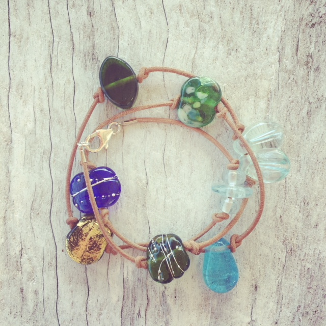 Recycled glass bracelet | beads made from a mix of bottles