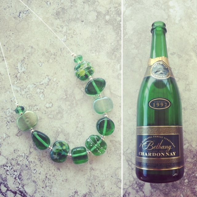 Recycled glass jewellery | green beads made from a Bethany Wines bottle