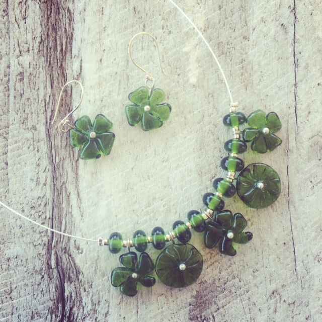 Recycled glass jewellery | glass flower beads made from a champagne bottle