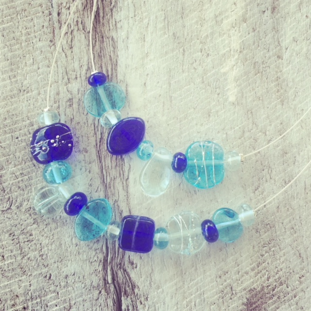 Recycled glass necklace | double strand necklace featuring beads made from recycled glass