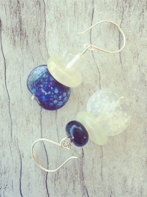 Recycled glass earrings | this mix-match pair of earrings features beads made from a Hendricks Gin and Fever-Tree tonic water bottle