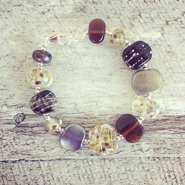 Recycled glass beads | bracelet made from wine, gin and beer bottles