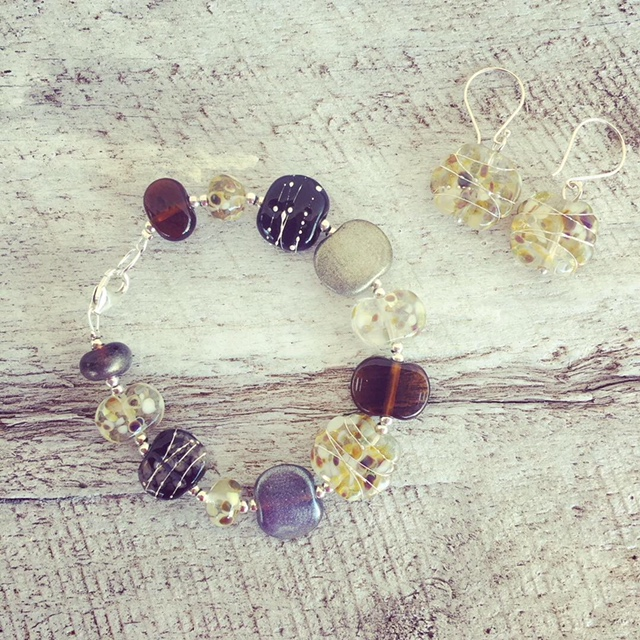 Recycled glass beads | bracelet and earrings made from wine, gin and beer bottles