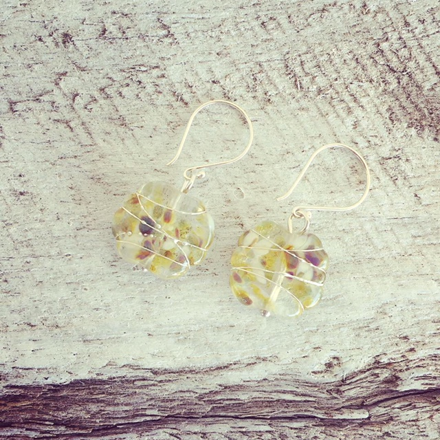 Recycled glass beads | earrings made from wine, gin and beer bottles