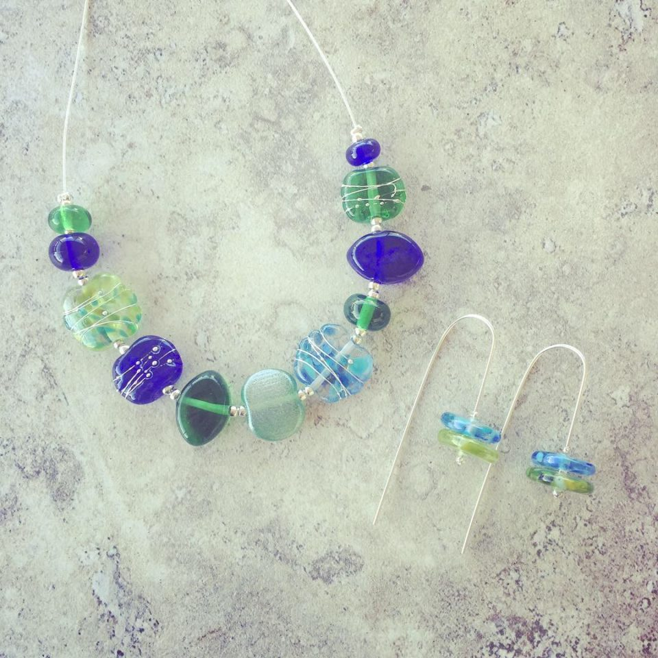Recycled glass jewellery | blue and green glass beads made from gin, vodka and wine bottles.