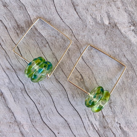 Recycled glass earrings | green earrings made from a wine bottle