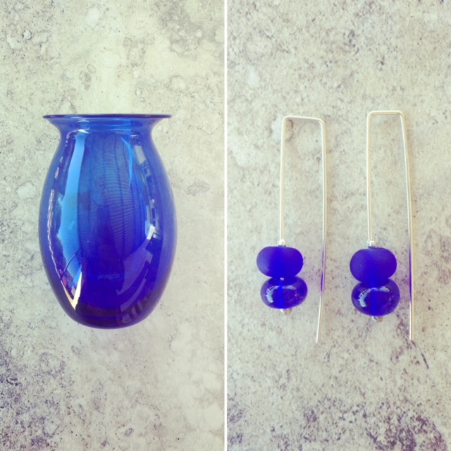 Recycled glass earrings | earrings made from a blue vase found in an op shop
