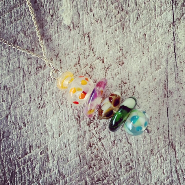 Recycled glass pendant necklace | beads made from various glass objects