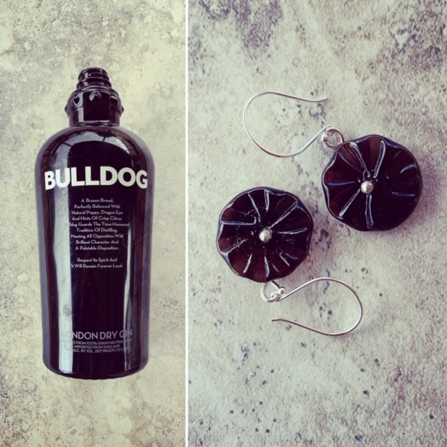 Recycled glass earrings | flower beads made from a Bulldog Gin bottle