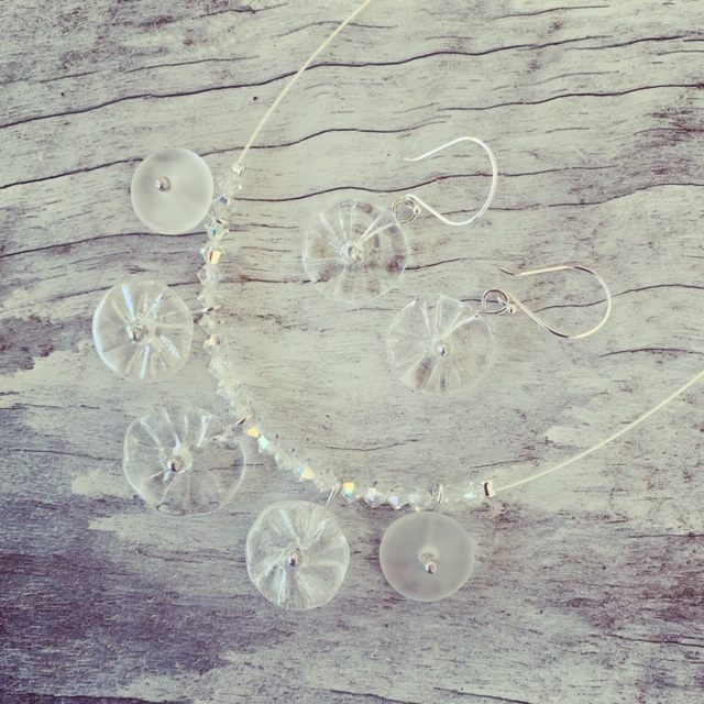 Recycled glass necklace | beads made from a clear wine bottle