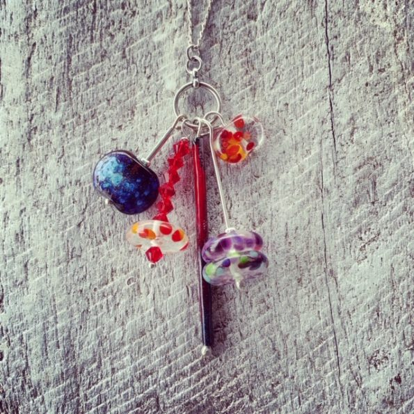 Recycled glass pendant necklace | beads made from gin and wine bottles