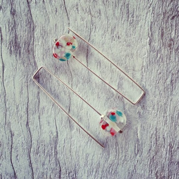Recycled glass earrings | long earrings with a speckle of colour