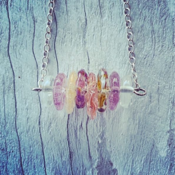 Recycled glass necklace | beads made from various glass objects and wine bottles
