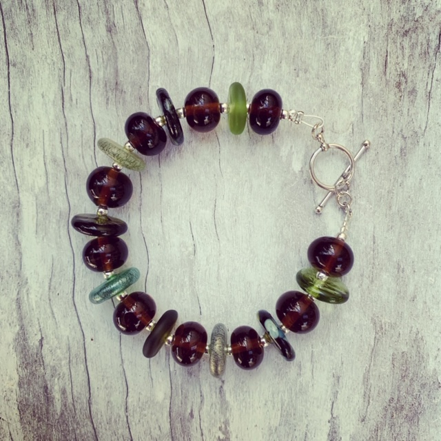 Recycled glass bracelet | glass beads made from beer and wine bottles