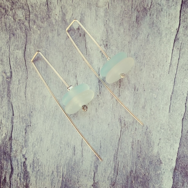 Recycled glass earrings | made from a wine bottle, inspired by the ocean.