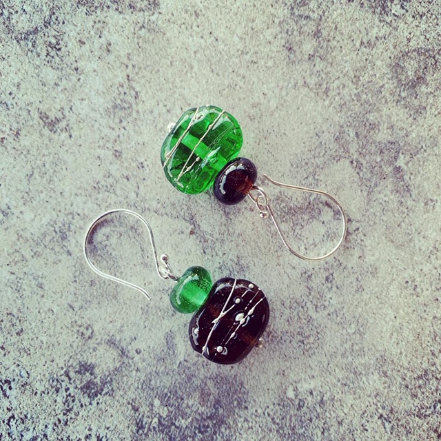 Recycled glass jewellery | glass beads made from gin, wine, beer bottles and green depression glass