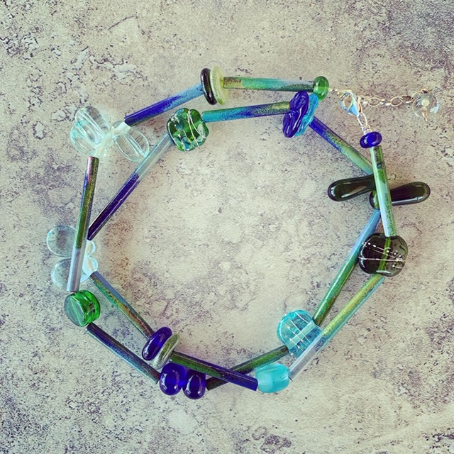 Recycled glass necklace | glass beads made from wine, gin, vodka and champagne bottles, with enamel tube beads