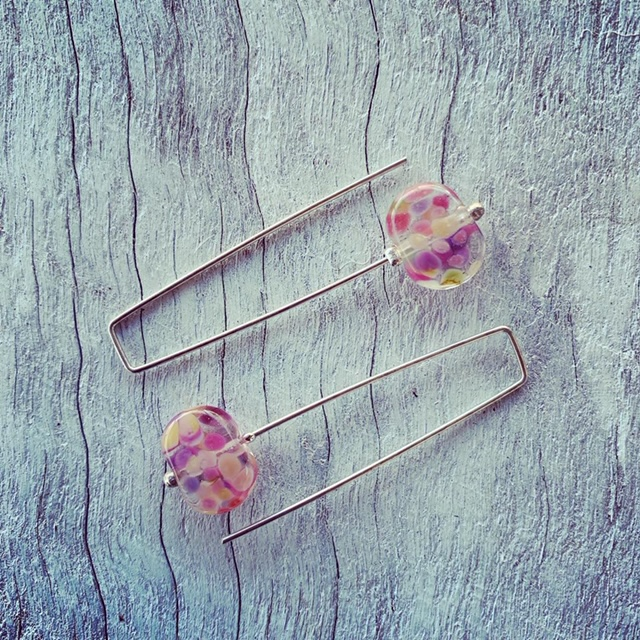 Recycled glass earrings | pink/purple earrings, beads made from wine bottles
