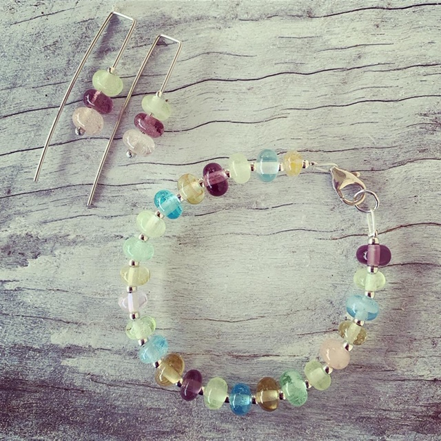 Recycled glass bead bracelet and earrings | beads made from assorted recycled glass objects