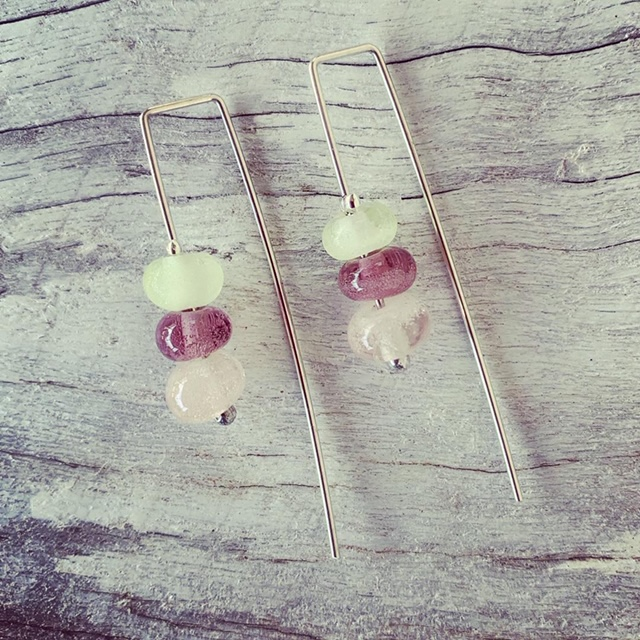 Recycled glass bead earrings | beads made from assorted recycled glass objects