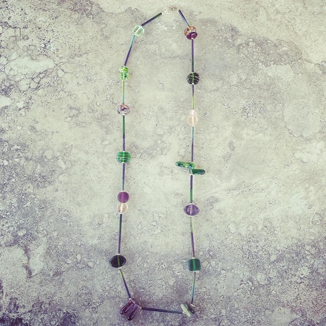 Recycled glass necklace | purple and green recycled glass beads made from various glass objects