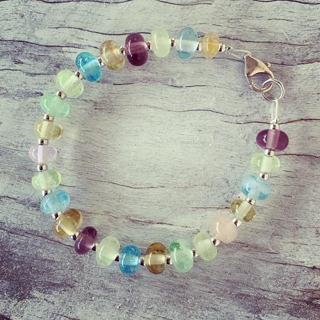 Recycled glass bead bracelet | beads made from assorted recycled glass objects