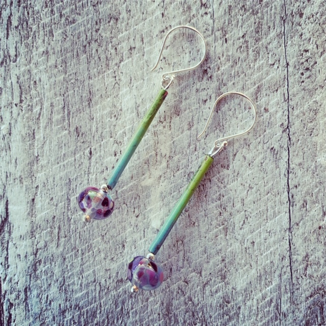 Recycled glass earrings | purple and green earrings made from a Banrock Station wine bottle