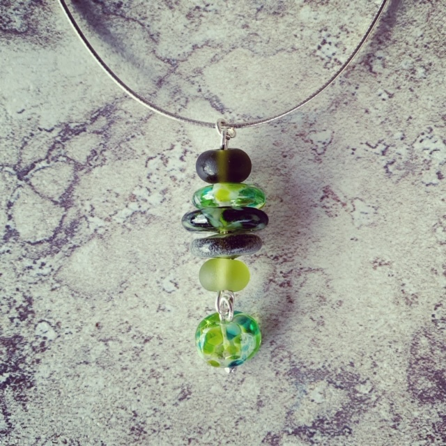 Green recycled glass necklace | glass beads made from assorted glass objects