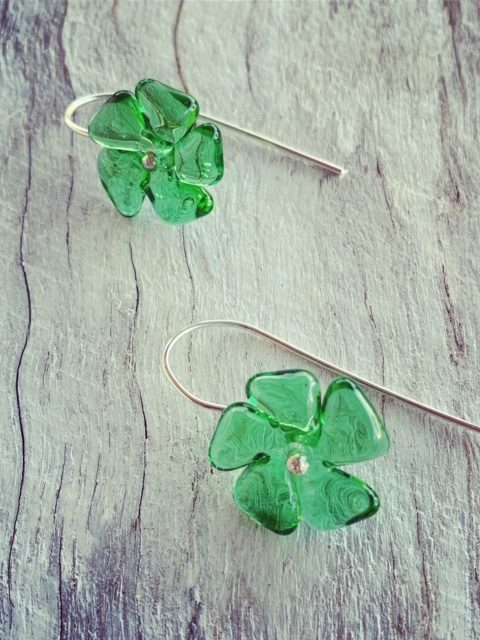 Recycled glass earrings | green flower earrings made from a Tanqueray Gin bottle