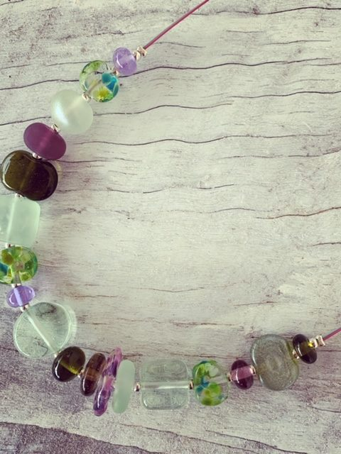 Recycled glass necklace | beads made from various glass sources, pretty mix of purple and green beads