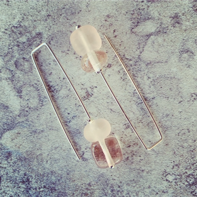 Recycled glass earrings   beads made from a Pink Depression Glass bowl