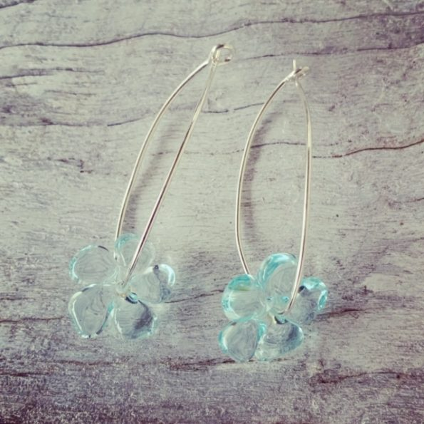 Recycled glass bead flower earrings | beads made from a Banrock Station wine bottle