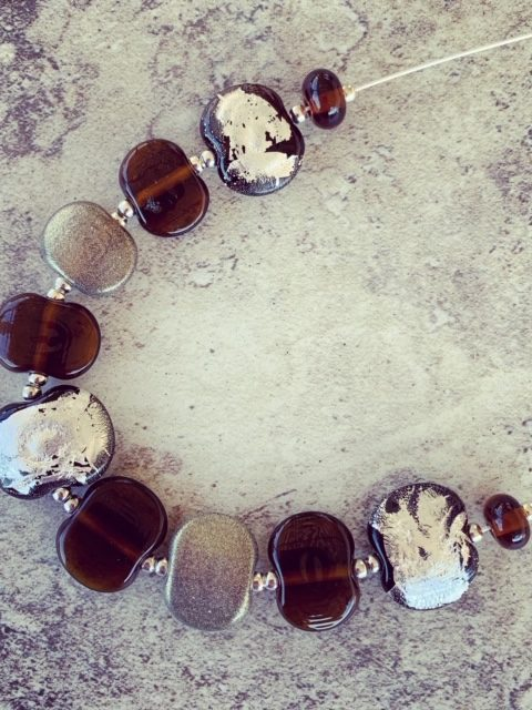 Recycled glass necklace | featuring beads made from a Hendricks Gin bottle