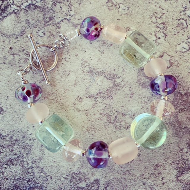 Recycled glass bracelet | beads made from Pink and Green Depression glass