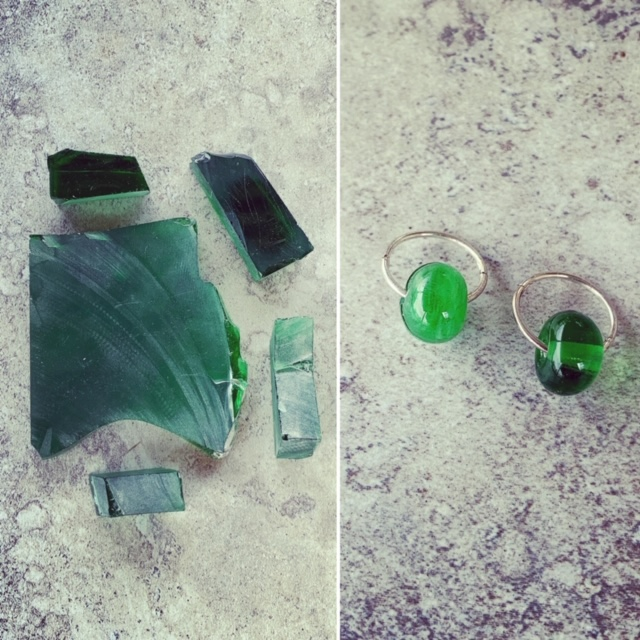 Recycled glass beads | glass beads made from green glass