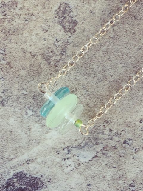 Recycled glass necklace | glass beads made from gin and tonic water bottles and Green Depression Glass