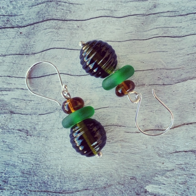 Recycled glass earrings | glass beads made from a Green Ginger Wine bottle