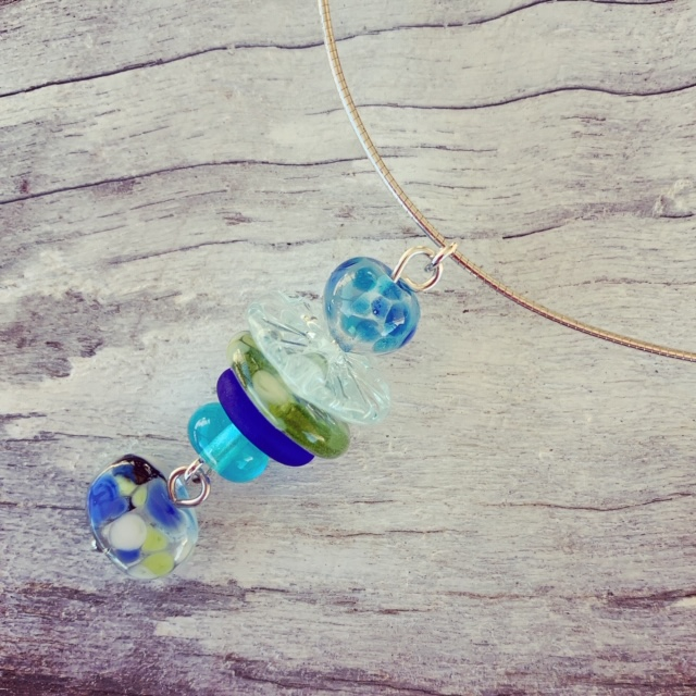Recycled glass necklace | beads made from wine, gin and vodka bottles.