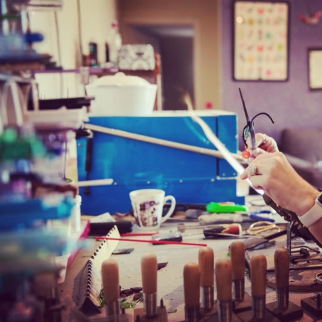 Recycled glass jewellery | behind the scenes in my lampwork glass studio