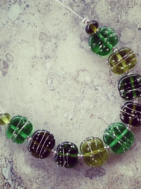 Green wine bottle necklace | recycled glass beads made from Bethany Wines wine bottles